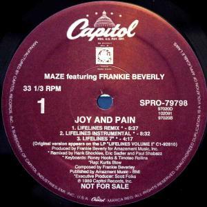 Maze feat Frankie Beverly / Joy And Pain (US Promo 12`Lifelines Remix) 89