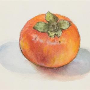 柿(正岡子規)*水彩画