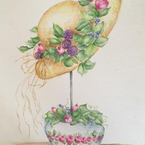 麦わら帽子と赤毛のアン(スーザン・シーウィ水彩画)