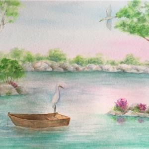 「輝ける波の湖」に似てー水辺の景色(スーザン・シーウィ水彩画)