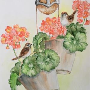 ゼラニウムと雀(スーザン・シーウィ水彩画)ーお盆によせて