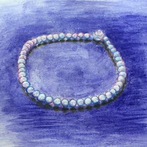 真珠のネックレスと赤毛のアンー水彩画