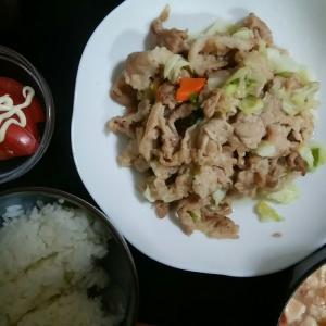 野菜炒めと豚汁