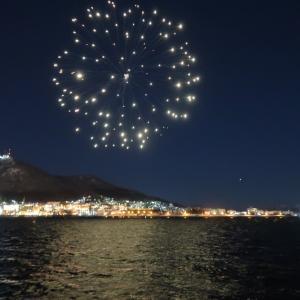 若松ふ頭で函館海上冬花火かぶりつき!
