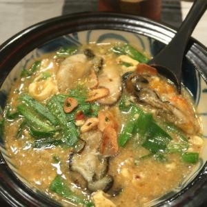 おうちでカキニラまつり、ピリ辛かき玉スープ