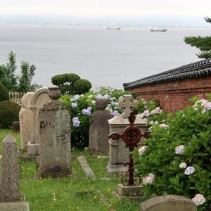 あじさいがよく似合う、霧雨の外国人墓地