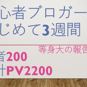 ブログ始めて3週で読者200名、合計PV2200やったあ☆彡収入0円!【初心者ブロガー等身大で公開その①1か月未満】