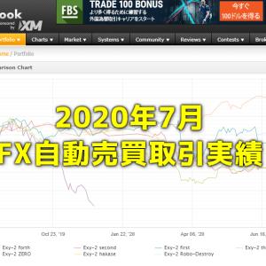 Exy-2FX研究所内自動売買(EA)の取引実績・月間成長率2020年7月