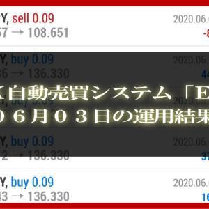 【MT4 EA】06月03日の運用結果【FX自動売買】