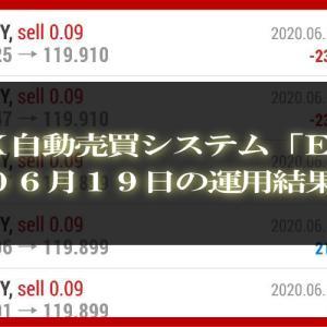【MT4 EA】06月19日の運用結果【FX自動売買】