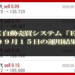 【MT4 EA】09月15日の運用結果【FX自動売買】