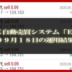 【MT4 EA】09月18日の運用結果【FX自動売買】