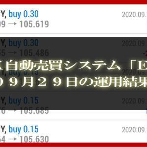 【MT4 EA】09月29日の運用結果【FX自動売買】