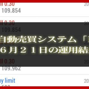 【MT4 EA】06月21日の運用結果【FX自動売買】