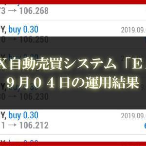 【XM EA】9月04日の運用結果【FX自動売買】