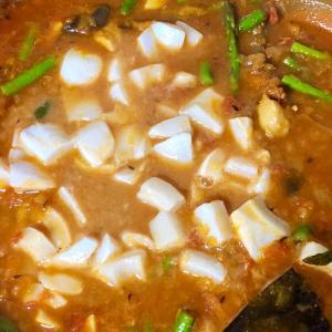 イカとアスパラの高菜スパイスカレー