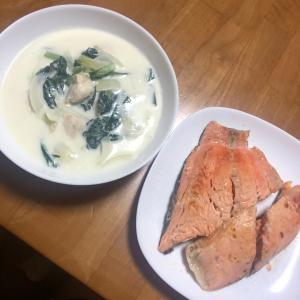 小松菜とササミのクリーム煮