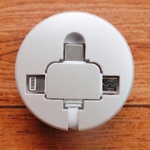 【レビュー】Cafele 3in1 Lightning+Micro USB+Type-C 巻取り式充電ケーブル。