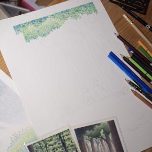 今、描きかけの絵です。