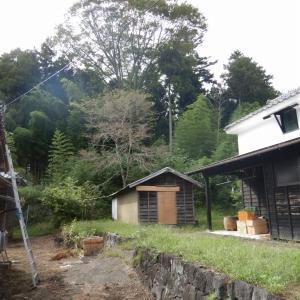 小屋の解体撤去のため、母屋からの架空配線をやり替え