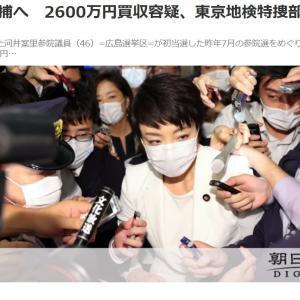 河井夫妻逮捕へ 2600万円買収容疑、東京地検特捜部