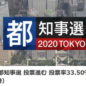 東京都知事選 投票進む 投票率33.50%(午後6時)