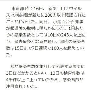 東京都で280人以上の感染を確認 1日あたり過去最多