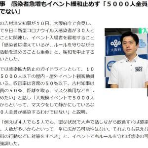 吉村知事 感染者急増もイベント緩和止めず「5000人全員感染するわけでない」