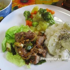 白いさつまいもの芋ご飯とキハダマグロX ネギX タマネギ炒め☆ガーリック醤油風味