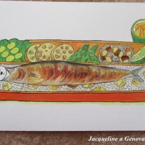 思わずクスッ!シロクマ入り秋刀魚弁当の絵柄のポストカード♪By.Keiko Shibata