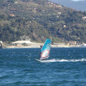ウィンドサーフィンをする人。