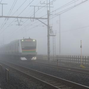 大晦日・霧の宇都宮線