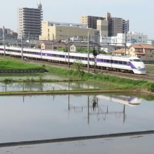 特急スペーシア雅・水田を往く(JR線・東武線)