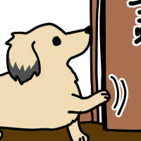 ドアをガリガリする犬