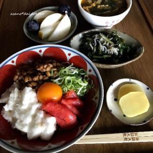 明太長芋納豆丼の朝ごはん