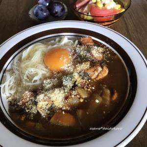 カレー素麺の朝ごはん