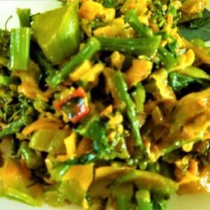 ブロッコリーと青梗菜と大根の炒め