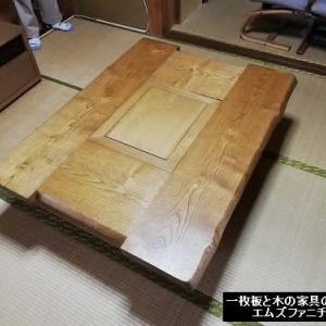 810、【お客様のお宅へお届け】栗の無垢材の囲炉裏を畳の間に設置。津市のお客様が一目ぼれして下さいました。一枚板と木の家具の専門店エムズファニチャーです。
