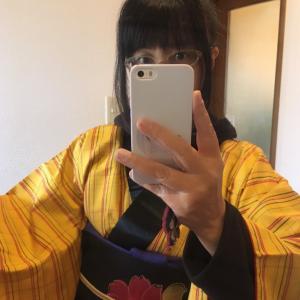 黄八丈風の着物でレトロなお正月コーデ