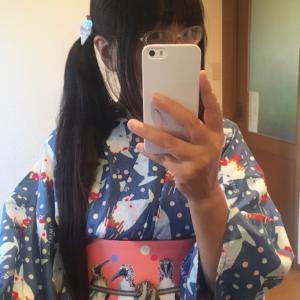 パフェ柄浴衣にchokoさんの半幅帯sweet bubble
