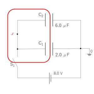 電位法によるコンデンサー回路の解法