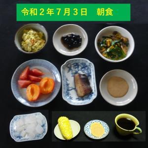 山本84歳・食事療法の記録・令和2年7月3日の食事