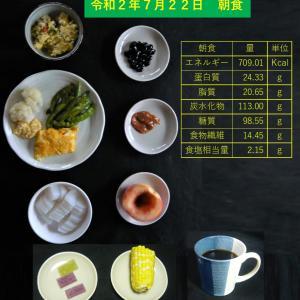 山本84歳・食事療法の記録・令和2年7月22日の食事