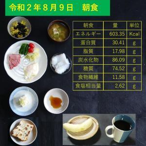 山本84歳・食事療法の記録・令和2年8月9日の食事
