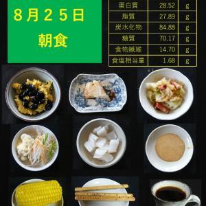 山本84歳・食事療法の記録・令和2年8月25日の食事