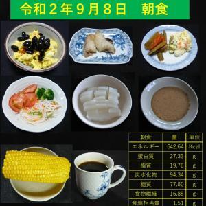 山本84歳・食事療法の記録・令和2年9月8日の食事