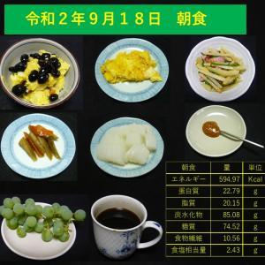 山本84歳・食事療法の記録・令和2年9月18日の食事