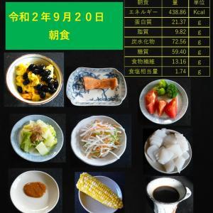 山本84歳・食事療法の記録・令和2年9月20日の食事