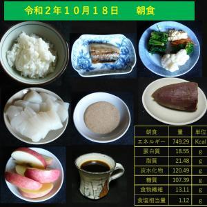 山本84歳・食事療法の記録・令和2年10月18日の食事