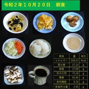 山本84歳・食事療法の記録・令和2年10月20日の食事